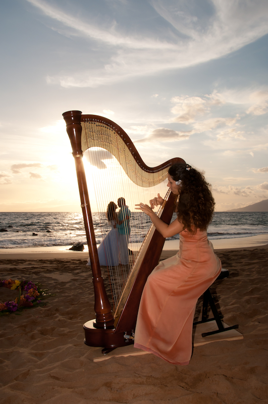 Hawaii Harpist Tatyana performs for your wedding